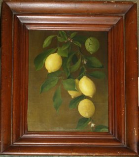 19th C American School O/c Still Life Of Lemons