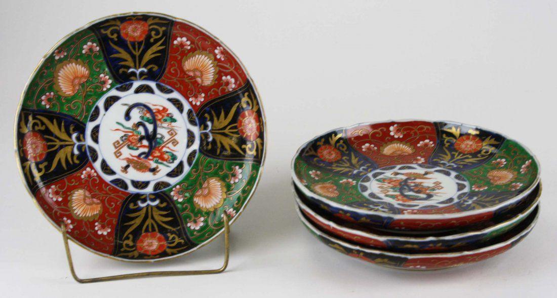 "early 20th c set of 4 Japanese Imari plates, dia 8.5"""