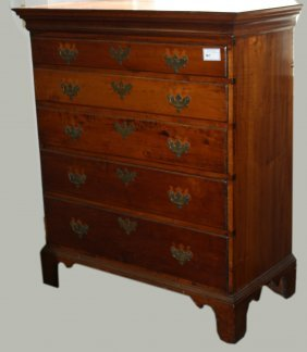 "36"" Chippendale Maple 5 Drawer High Chest, Graduated"