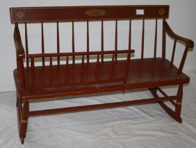 """19th C Mammy's Bench, Red Painted And Stenciled. 47""""w."""