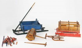 Mid 20th C Miniature Model Sleighs, Snow Roller,