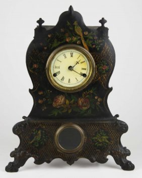 19th C Bradley & Hubbard Iron Face Shelf Clock, Ht