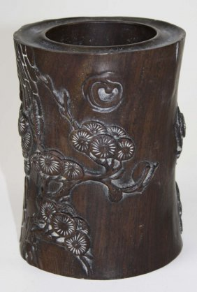20th C Chinese Relief Carved Wooden Vessel With Flowers