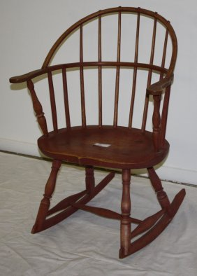 Windsor Armed Rocking Chair. Later Red Wash.