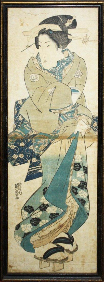 19th c Japanese ukiyo-e woodblock print signed Keisai