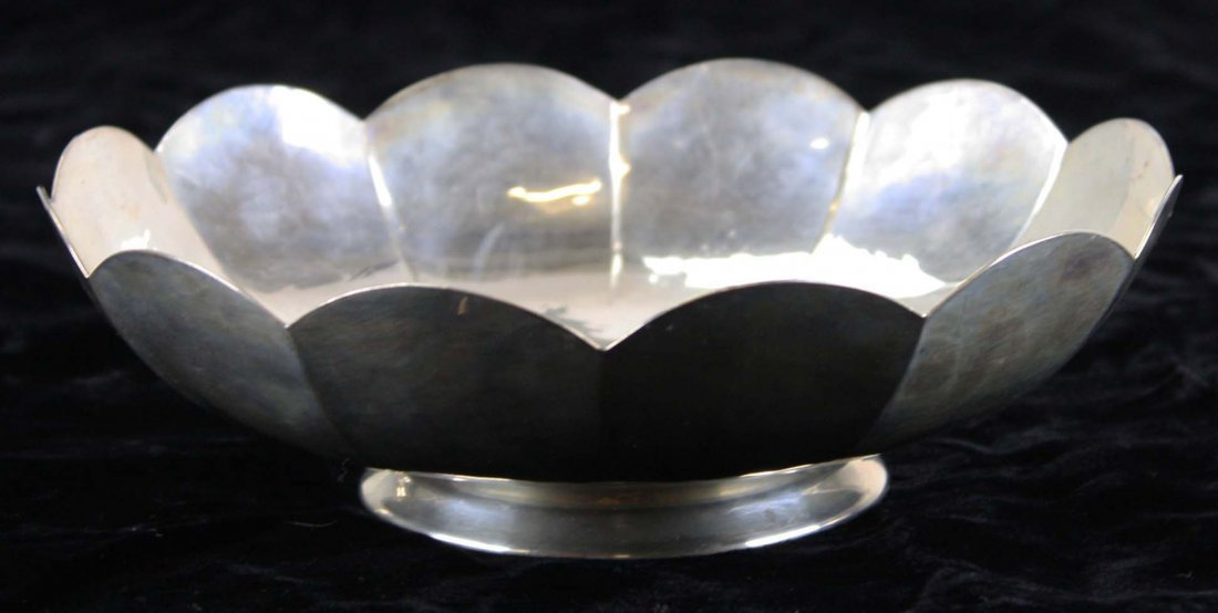 """hammered fluted sterling silver bowl marked """"ONC"""