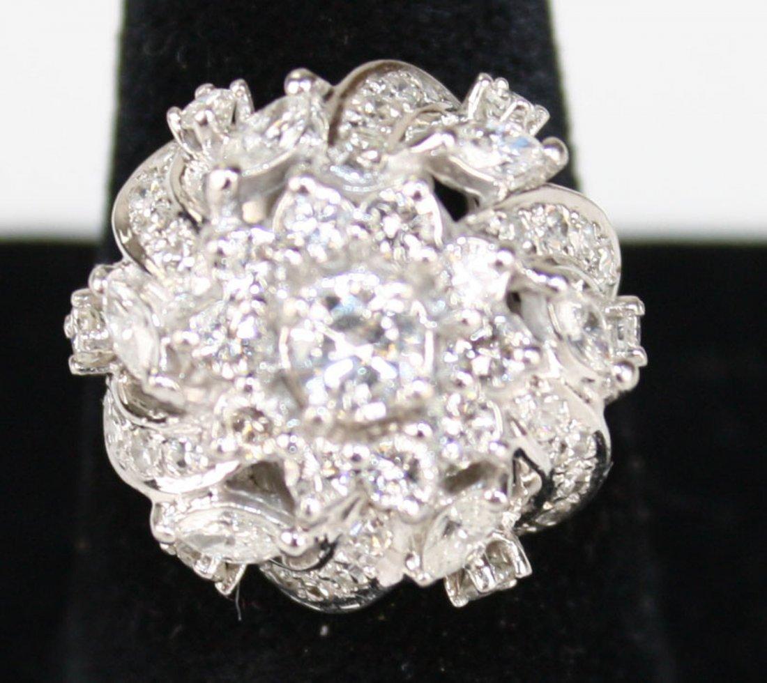 14k w.g. ladies diamond ring, center ¼ rd cut diamond