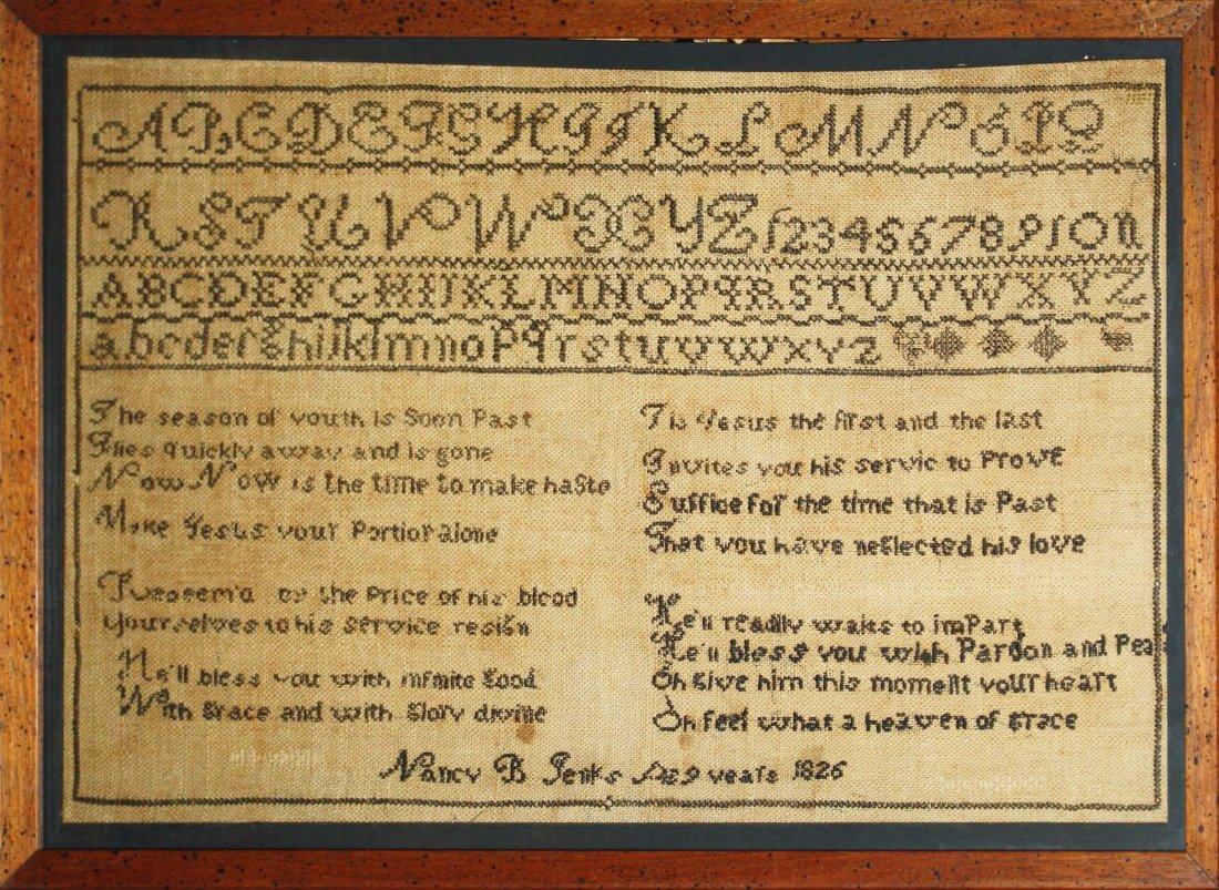 "1826 Nancy B Jenks New England sampler with verse, 11"""