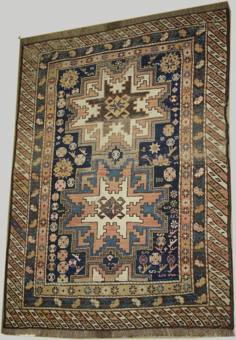 late 19th c Kazak 2 medallion area rug, areas of uneven