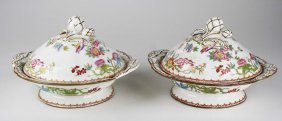 Pr Of Minton Covered Vegetable Dishes, One Leaf On