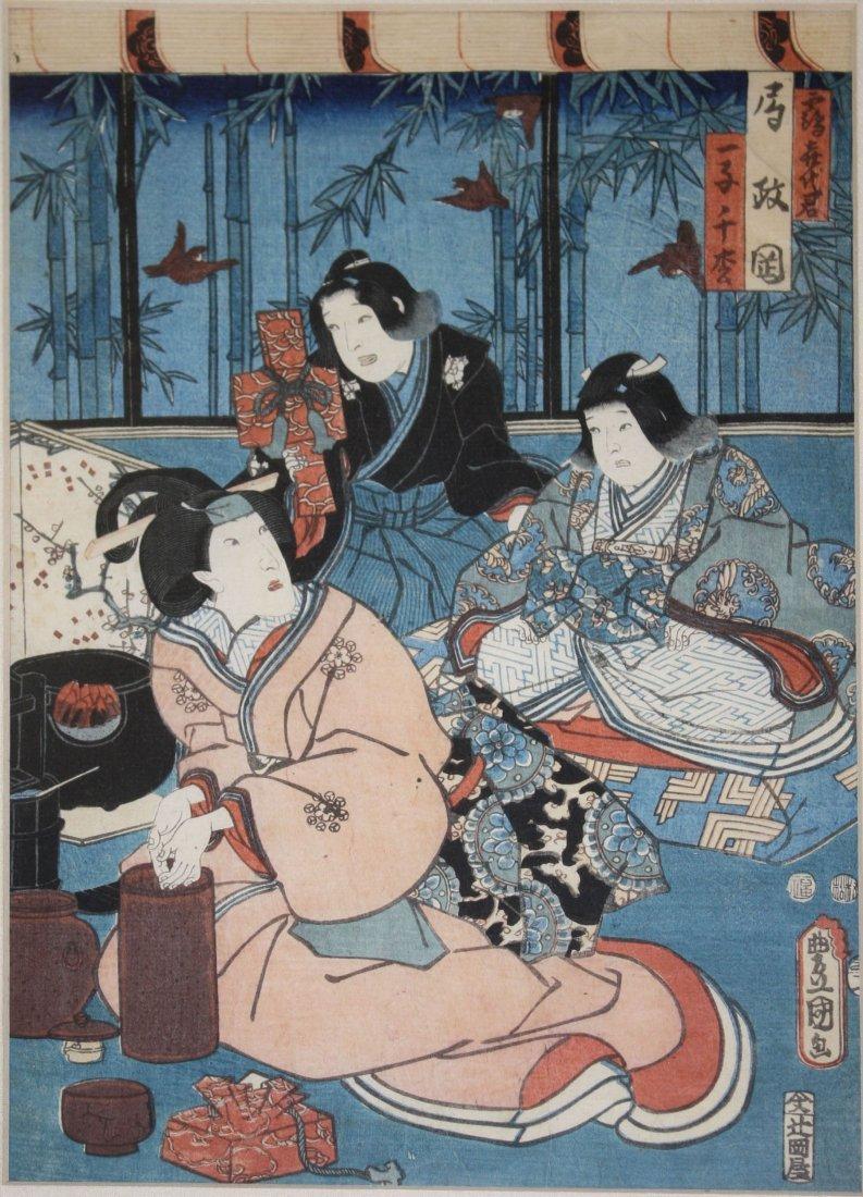 "19th c Japanese ukiyo-e woodblock print signed, 13"" x"