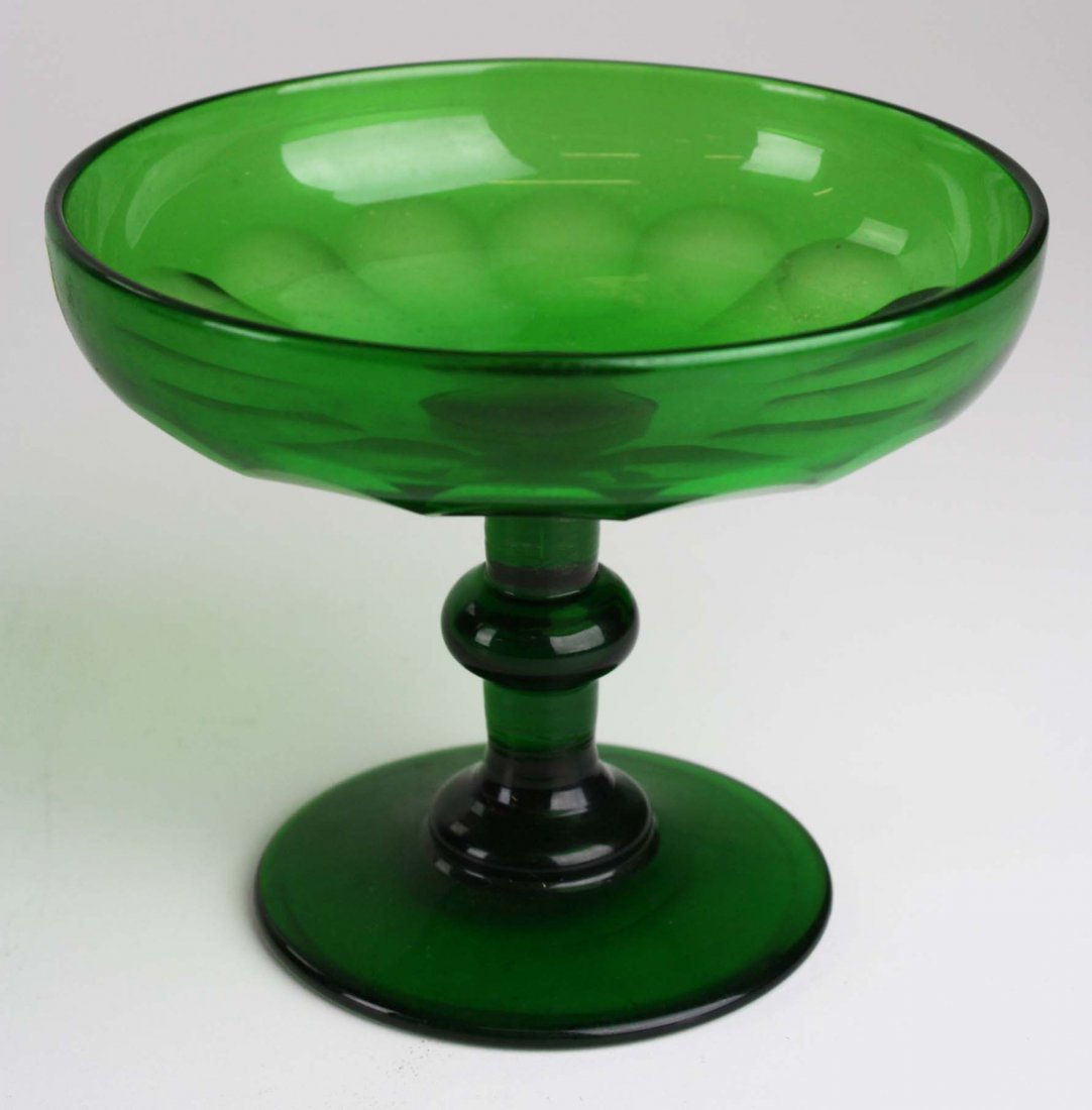 early 19th c emerald green blown glass tazza with