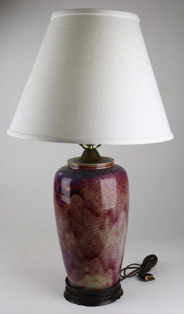 """contemporary Chinese flambe table lamp, ht 14"""", overall"""
