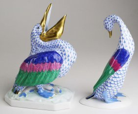 Two Large Herend Porcelain Blue Fishnet Dec Animal