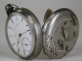 American Watch Co. Open Face Coin Silver Key Wind