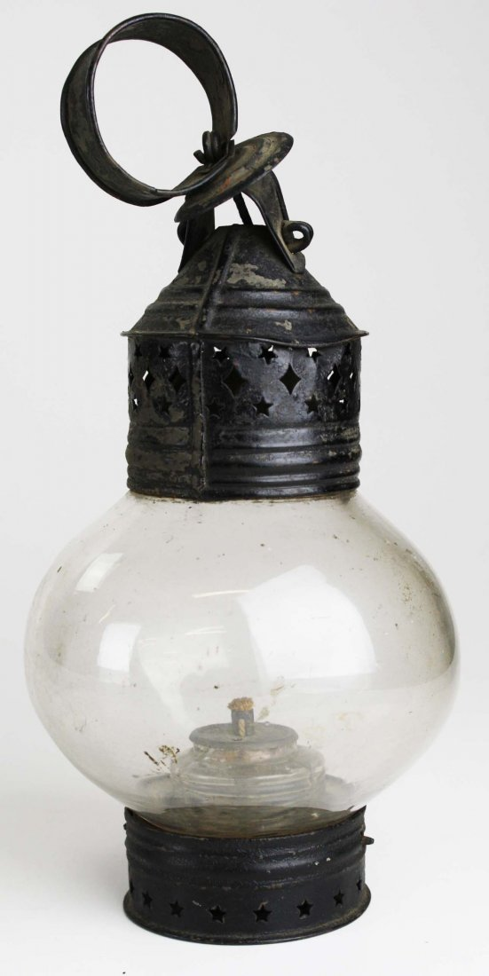 "mid 19th c onion globe & tin lantern, ht 11"", dia 5"""