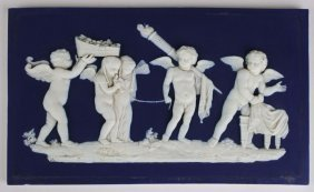 Wedgwood Dark Blue Jasperware Bas Relief Plaque Of