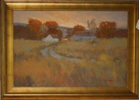 """C Walton (20th C) Placid Scene Of A Farm O/c 30 X 40"""""""