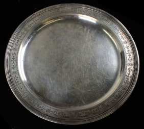 Sterling Silver Platter. Neo Classical Motif With