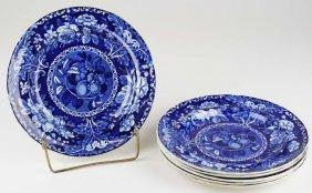 Set Of 6 Deep Blue Stafforshire Porcelain Luncheon