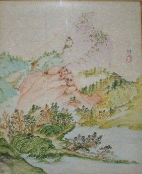 Mid 20th C Chinese Landscape Watercolor With Ink &