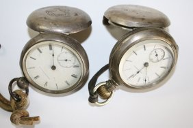 Two Open Face Coin Silver American Watch Co. Pocket