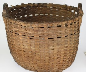 Late 19th C Country Double Handled Farm Basket, Some