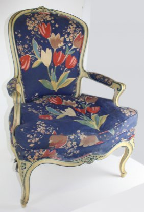 Louis Xv Style Carved Upholstered Arm Chair In Blue And