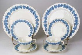 37 Pc Wedgwood Queensware Blue On Cream Partial