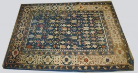 """Early 20th C Persian Area Rug, 4' X 5' 3""""early 20th C"""