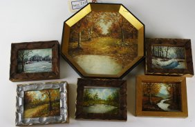 Jack Hammell (vermont 20thc) Six Small Paintings O/b 4