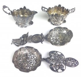 4 Pc Continental Silver Repousse & Figural Openwork