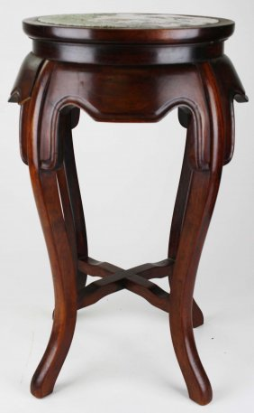Chinese Round Low Stand With Painted China Top Insert.