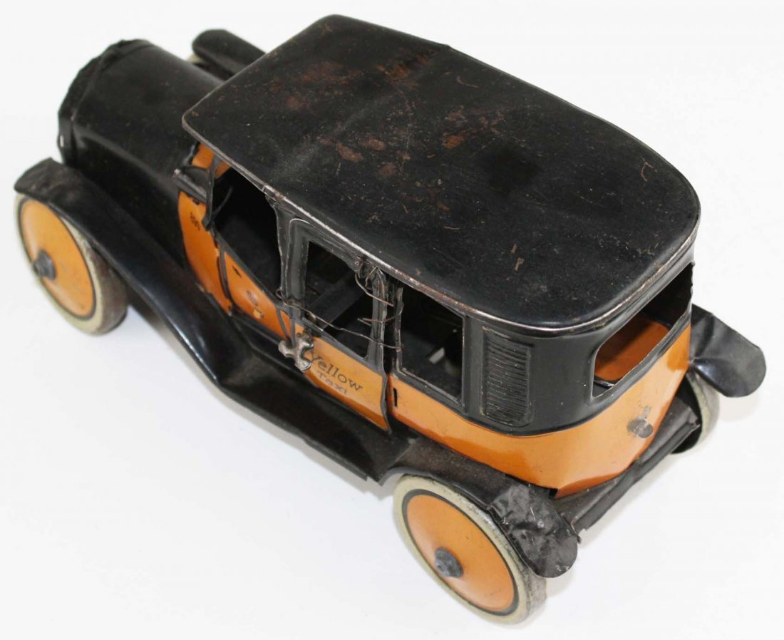 German Guntherman Yellow Taxi tin litho wind-up toy, - 3
