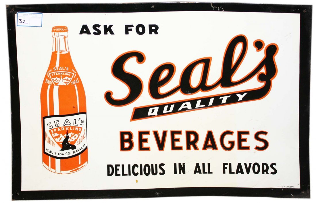 """Tin embossed sign """"Ask for Seal Quality Beverages"""" soda"""