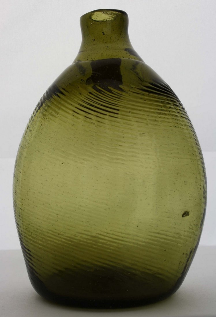 19th c  pattern-molded Pitkin-type half pint flask, 36
