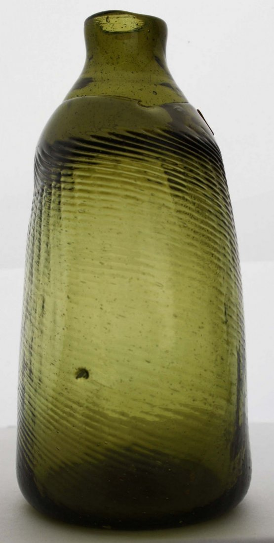 19th c  pattern-molded Pitkin-type half pint flask, 36 - 5