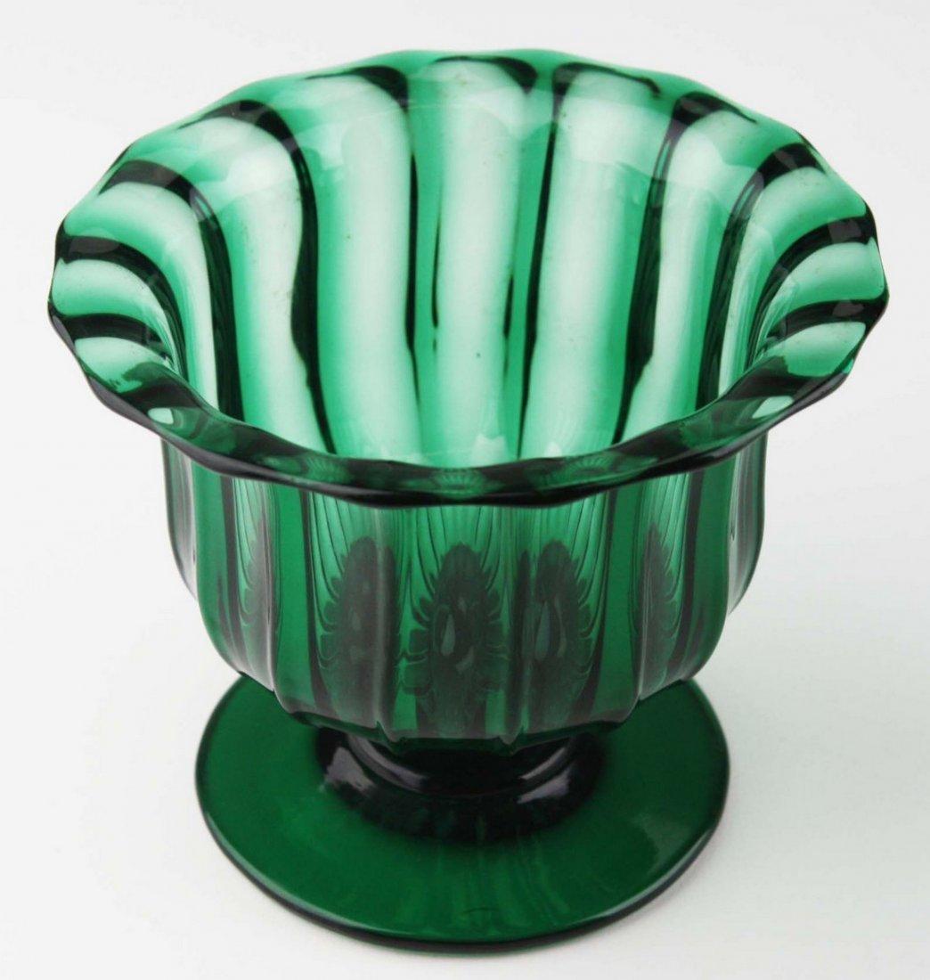 19th c pattern molded open sugar bowl, emerald green