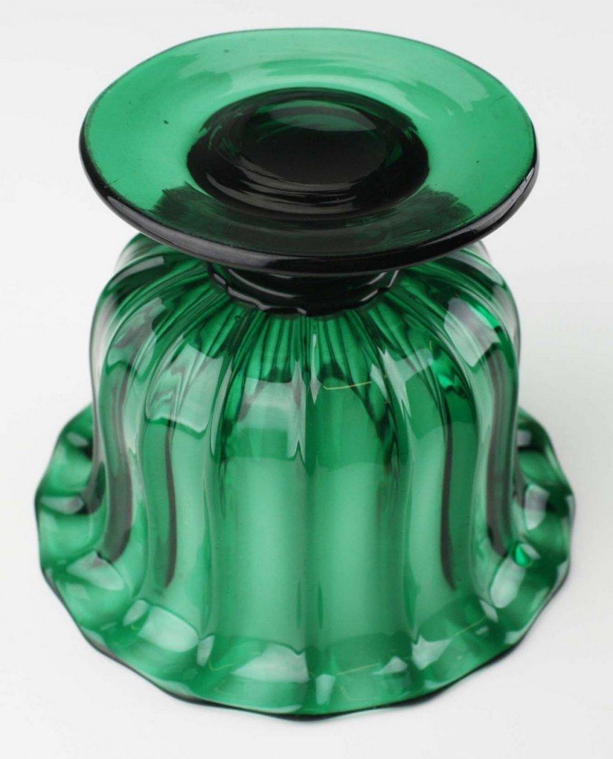 19th c pattern molded open sugar bowl, emerald green - 3