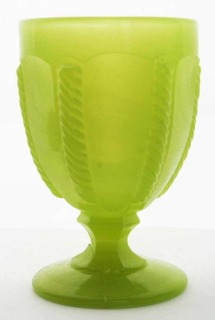 19th c pattern molded egg cup, light yellow green cable