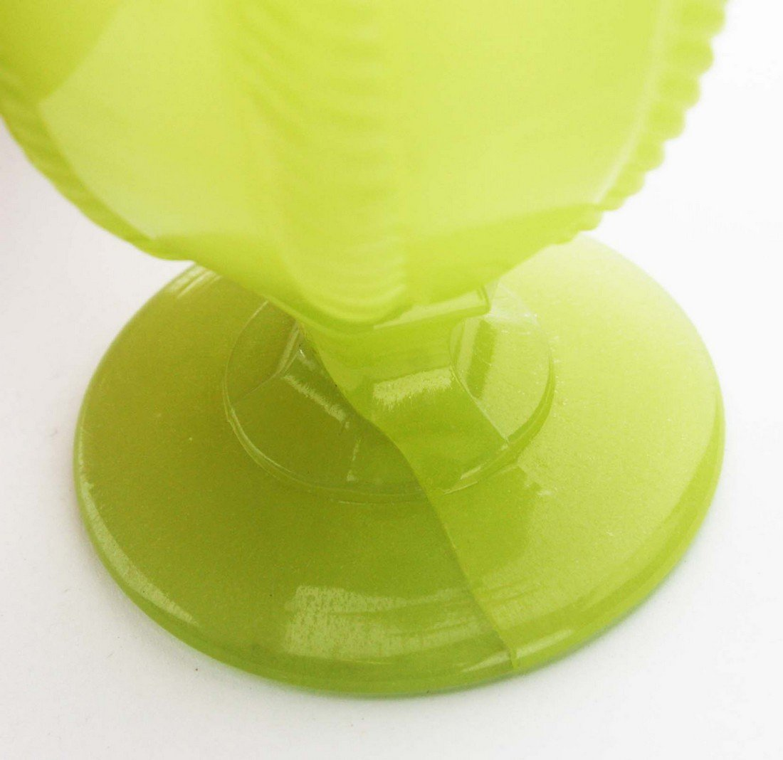 19th c pattern molded egg cup, light yellow green cable - 3