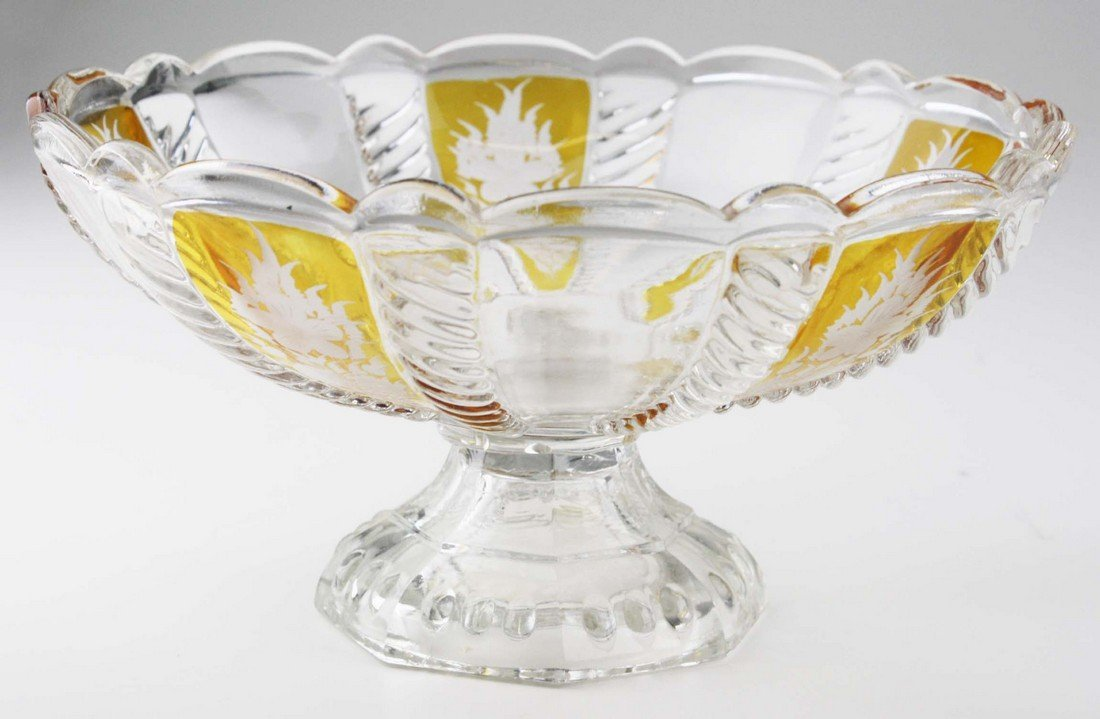 19th c pattern molded footed compote, wheel etched