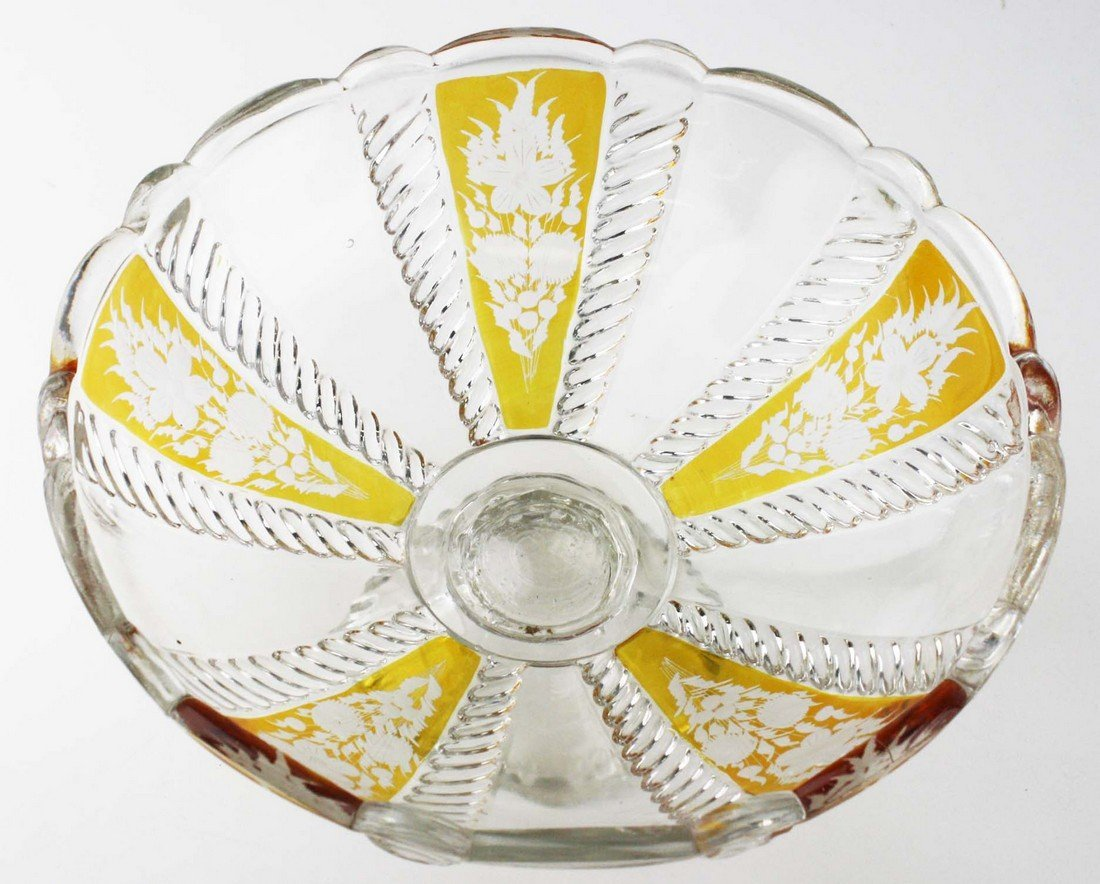 19th c pattern molded footed compote, wheel etched - 2