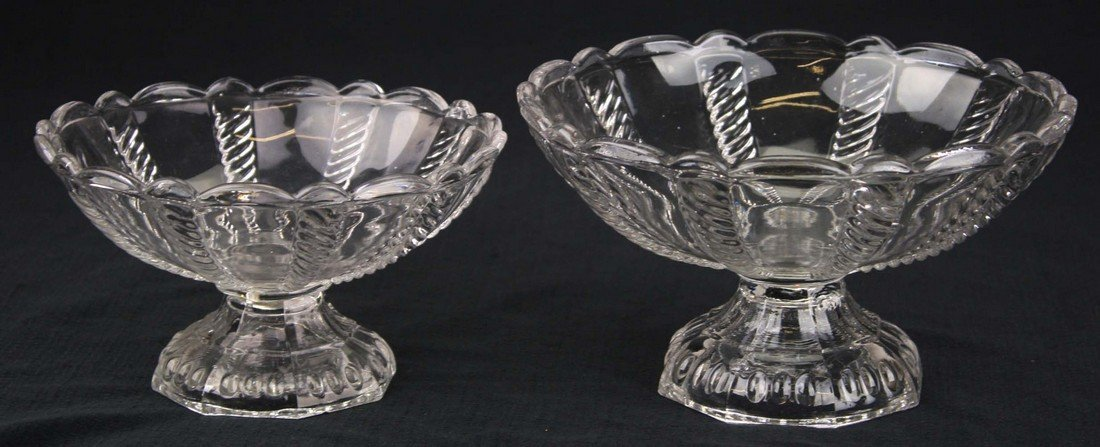 two 19th c pattern molded footed compotes, clear cable
