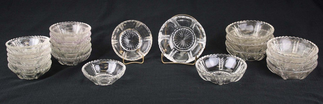 two sets of 8 & 12 pattern molded sauce dishes, clear