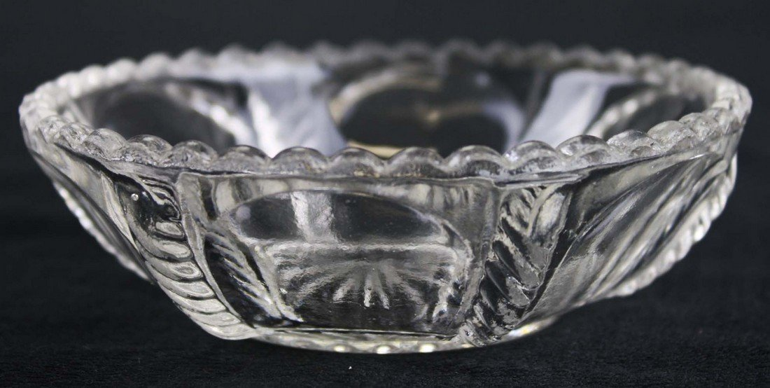 two sets of 8 & 12 pattern molded sauce dishes, clear - 3