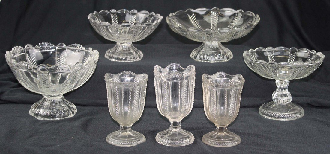 seven pieces of 19th c pattern molded table ware, clear