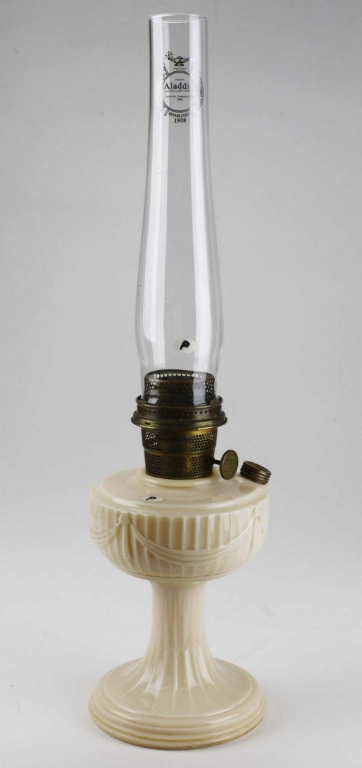 """Aladdin Lincoln Drape oil lamp, pink cream glass, ht 9"""""""