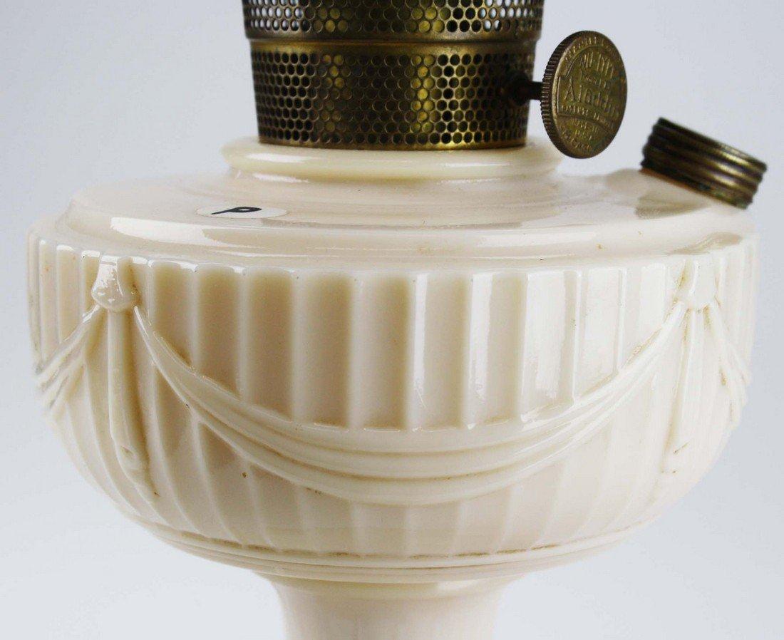 """Aladdin Lincoln Drape oil lamp, pink cream glass, ht 9"""" - 2"""