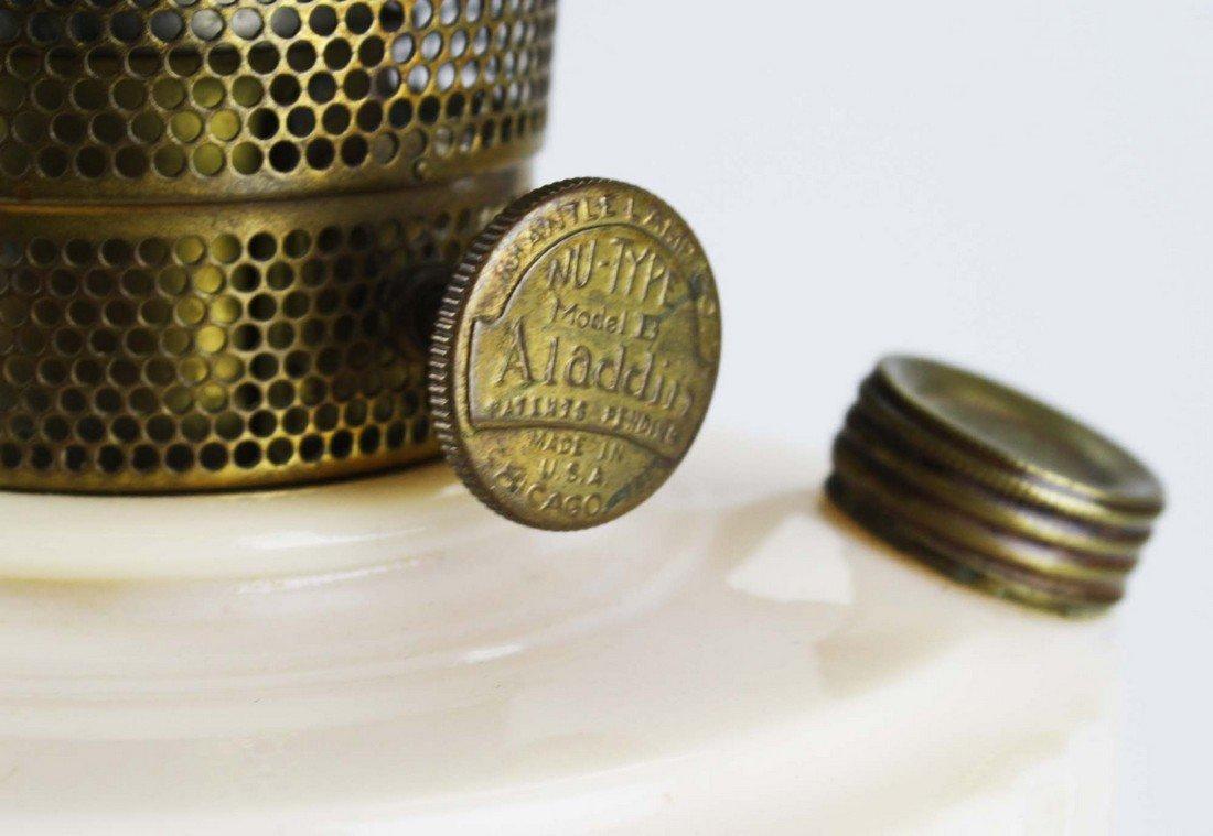 """Aladdin Lincoln Drape oil lamp, pink cream glass, ht 9"""" - 3"""